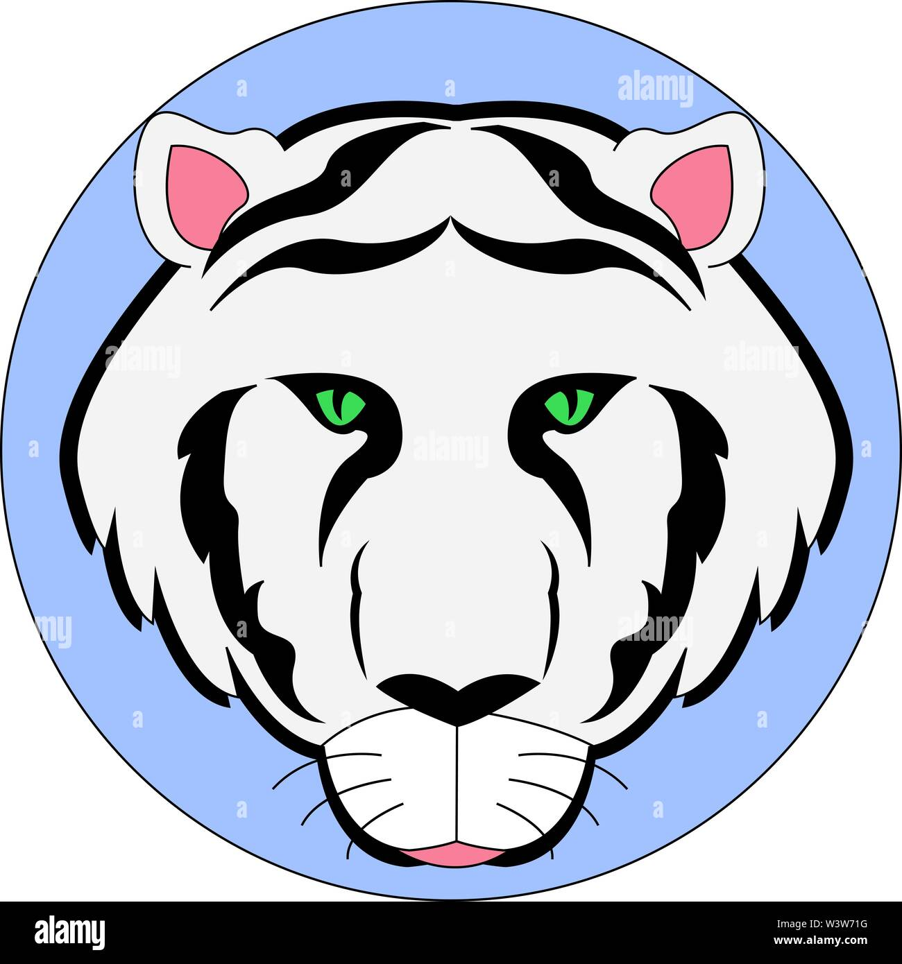 White Siberian tiger, illustration, vector on white background. - Stock Vector
