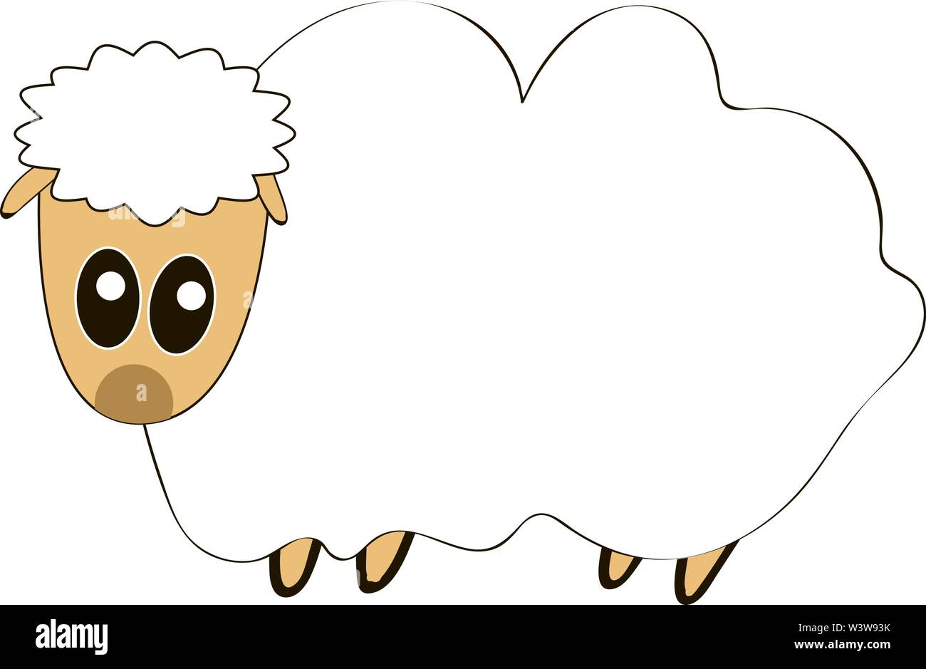 Fat sheep, illustration, vector on white background. Stock Vector