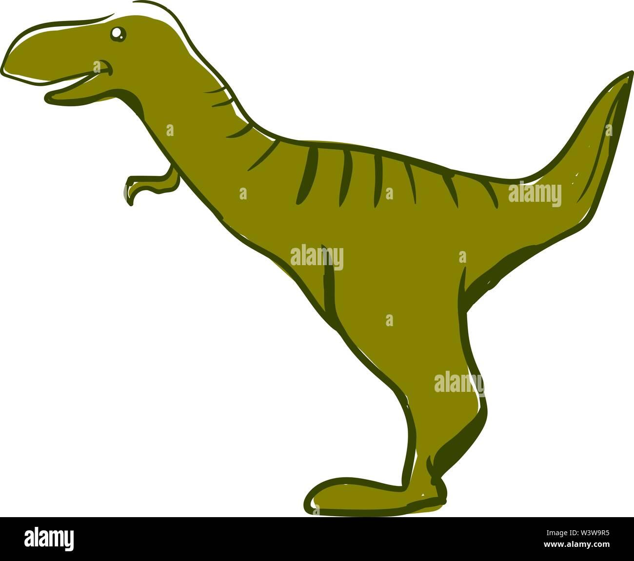 Happy green dinosaur, illustration, vector on white background. - Stock Image