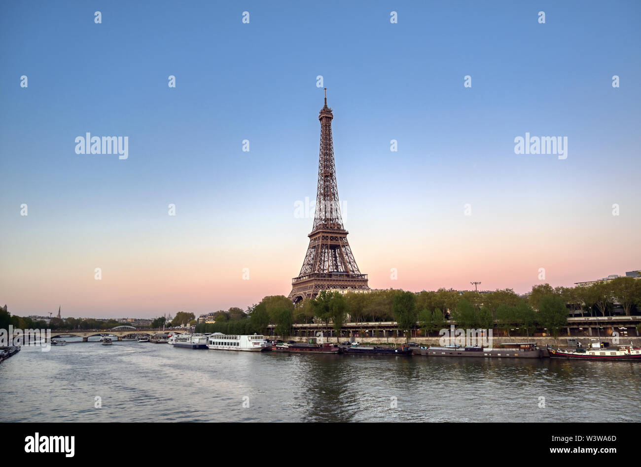 The Eiffel Tower across the River Seine in Paris, France. Stock Photo