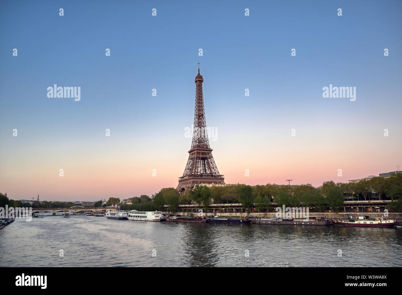 The Eiffel Tower across the River Seine in Paris, France. - Stock Image