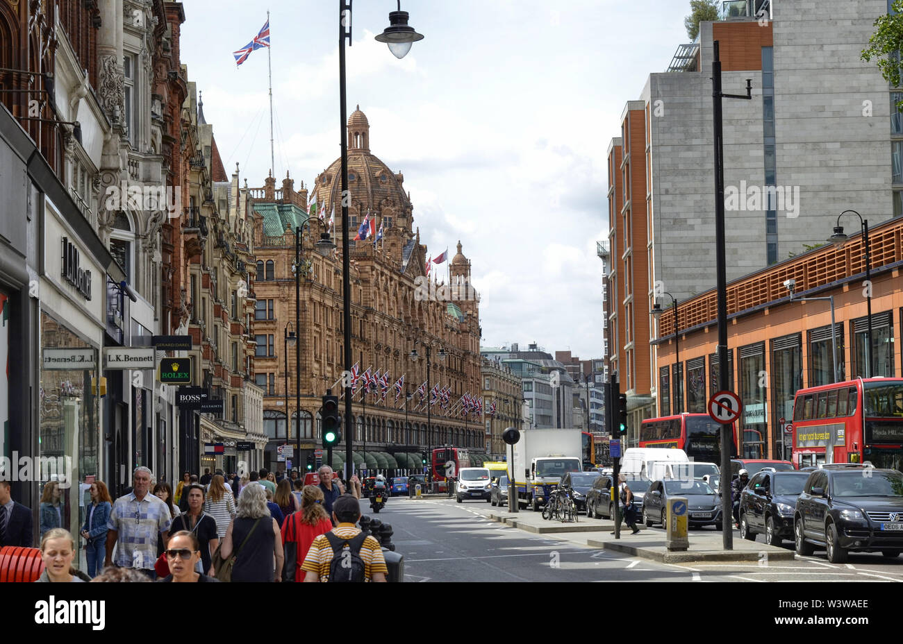 London, United Kingdom, June 2018. The harrods warehouses, a reference point for luxury customers. It is a commercial one hundred with an extremely wi - Stock Image