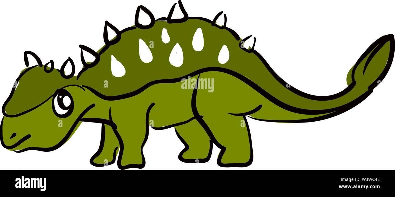 Sad green dinosaur, illustration, vector on white background. - Stock Image