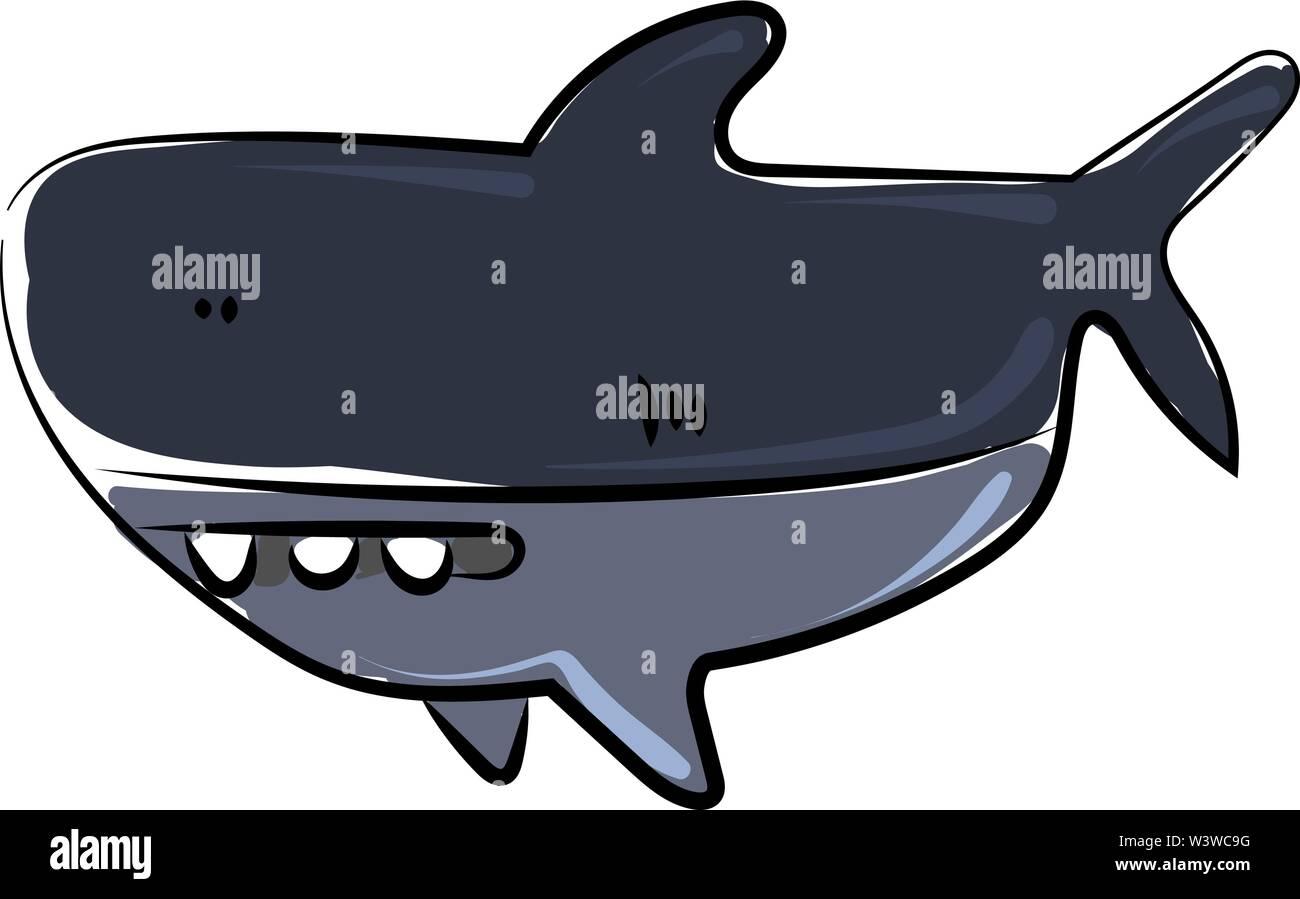 Funny shark, illustration, vector on white background. - Stock Image