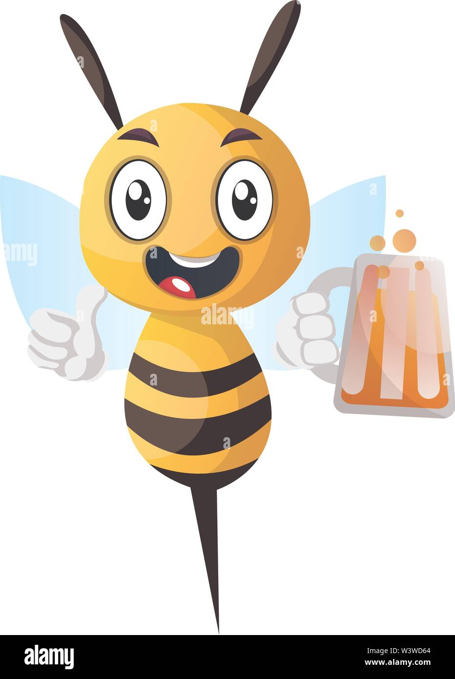 Bee holding a drink, bee holding a  beer, illustration, vector on white background. - Stock Image