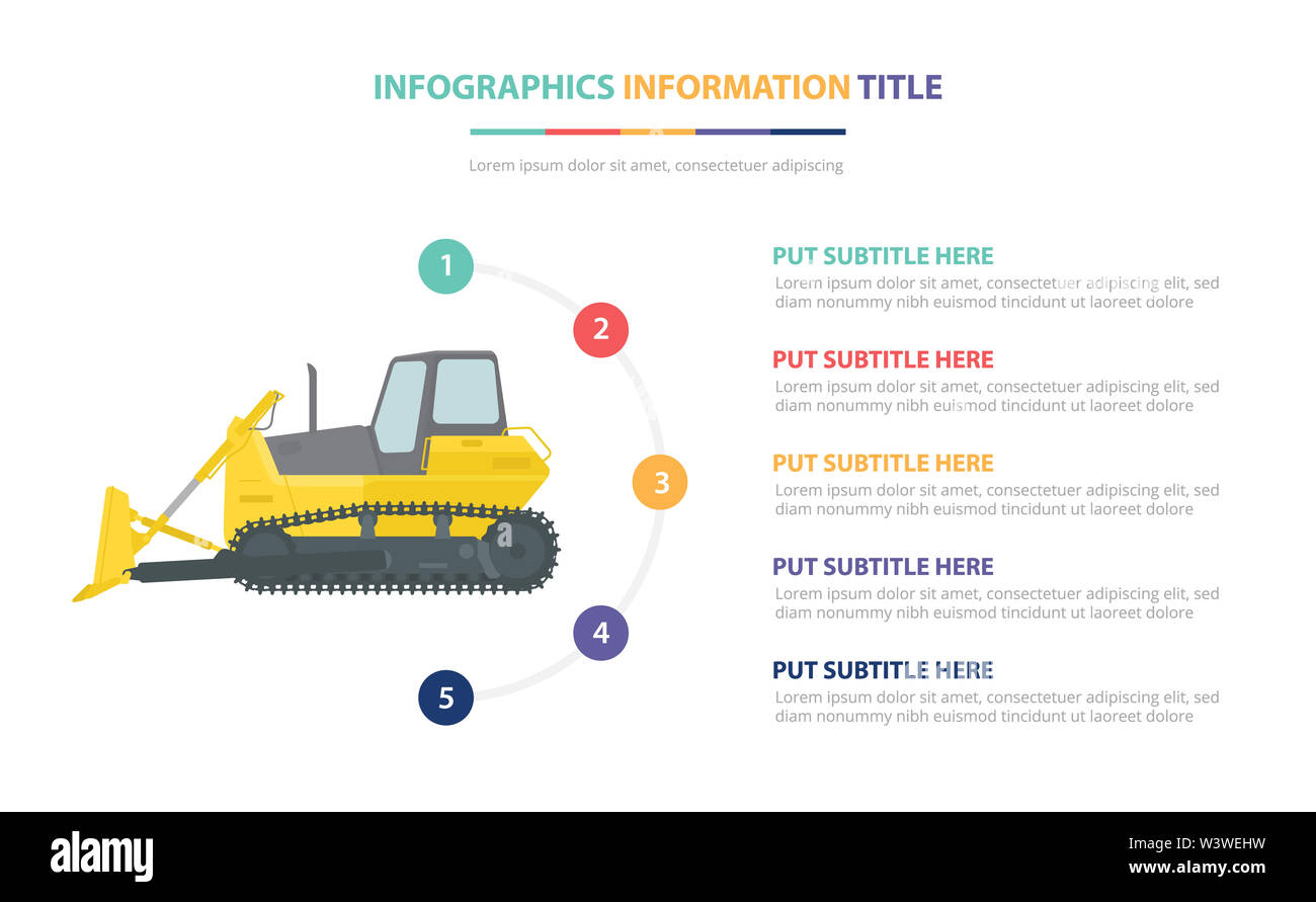 loader infographic template concept with five points list and various color with clean modern white background - vector illustration - Stock Image