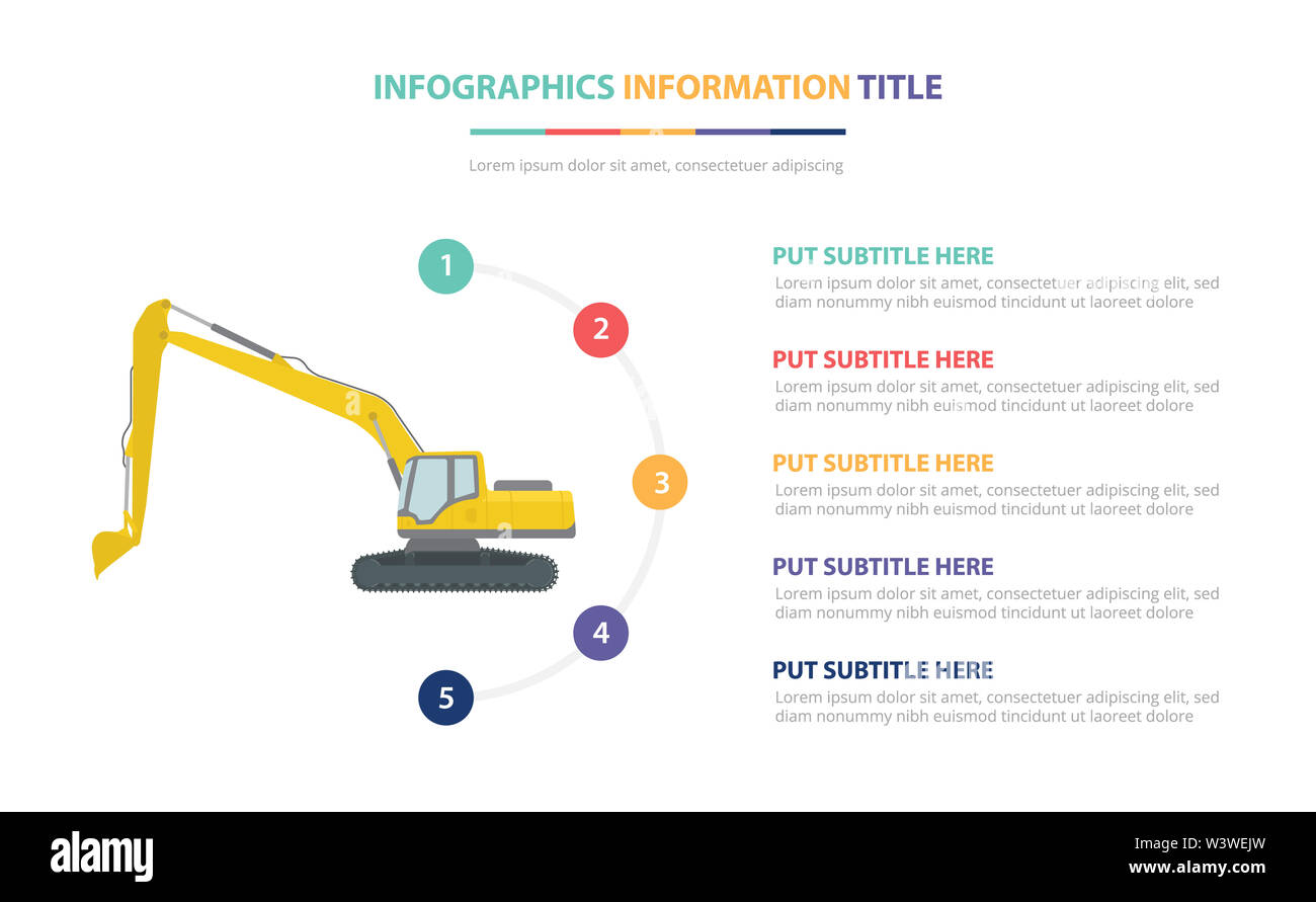 excavators infographic template concept with five points list and various color with clean modern white background - vector illustration - Stock Image