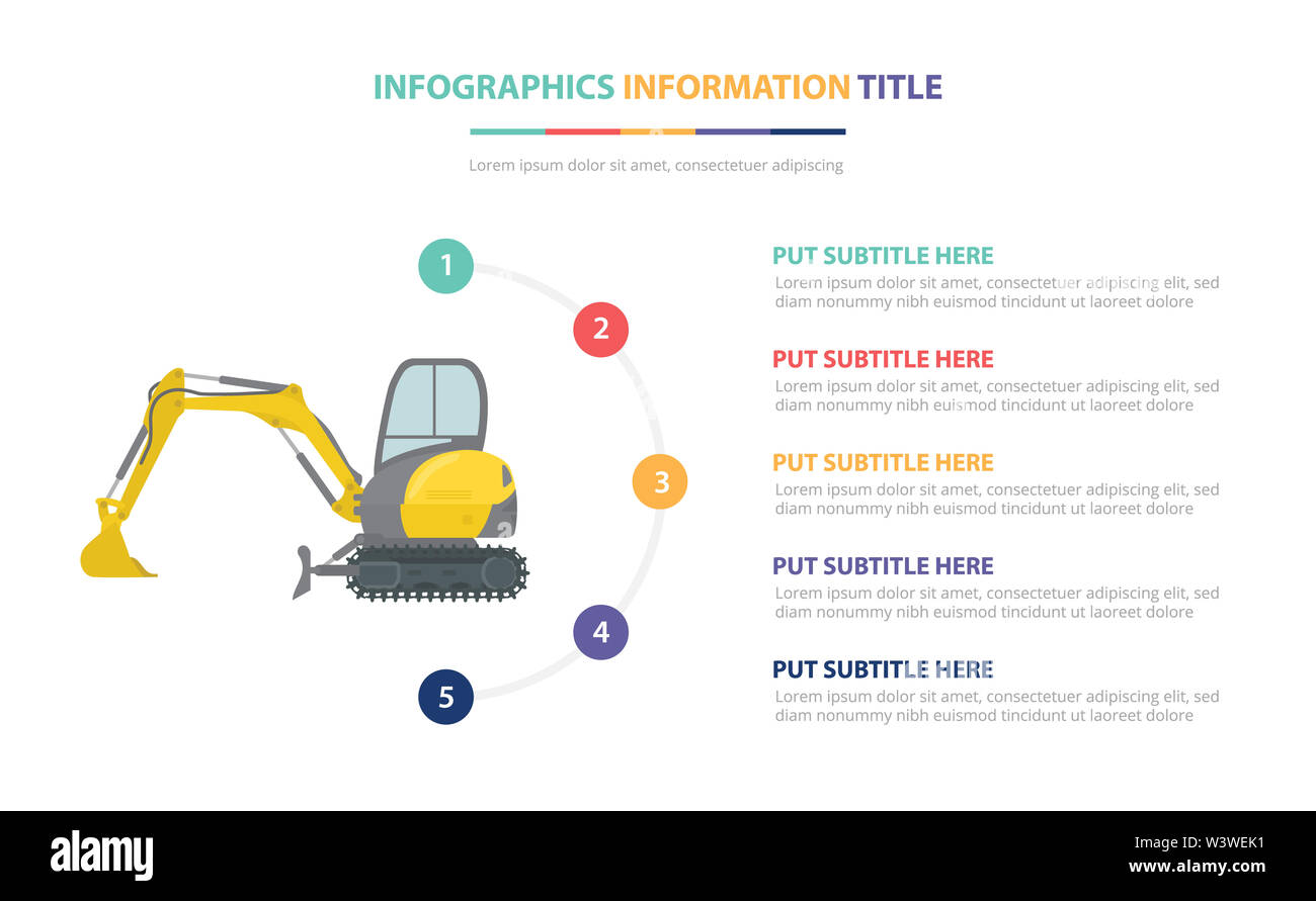 small or mini excavators infographic template concept with five points list and various color with clean modern white background - vector illustration - Stock Image