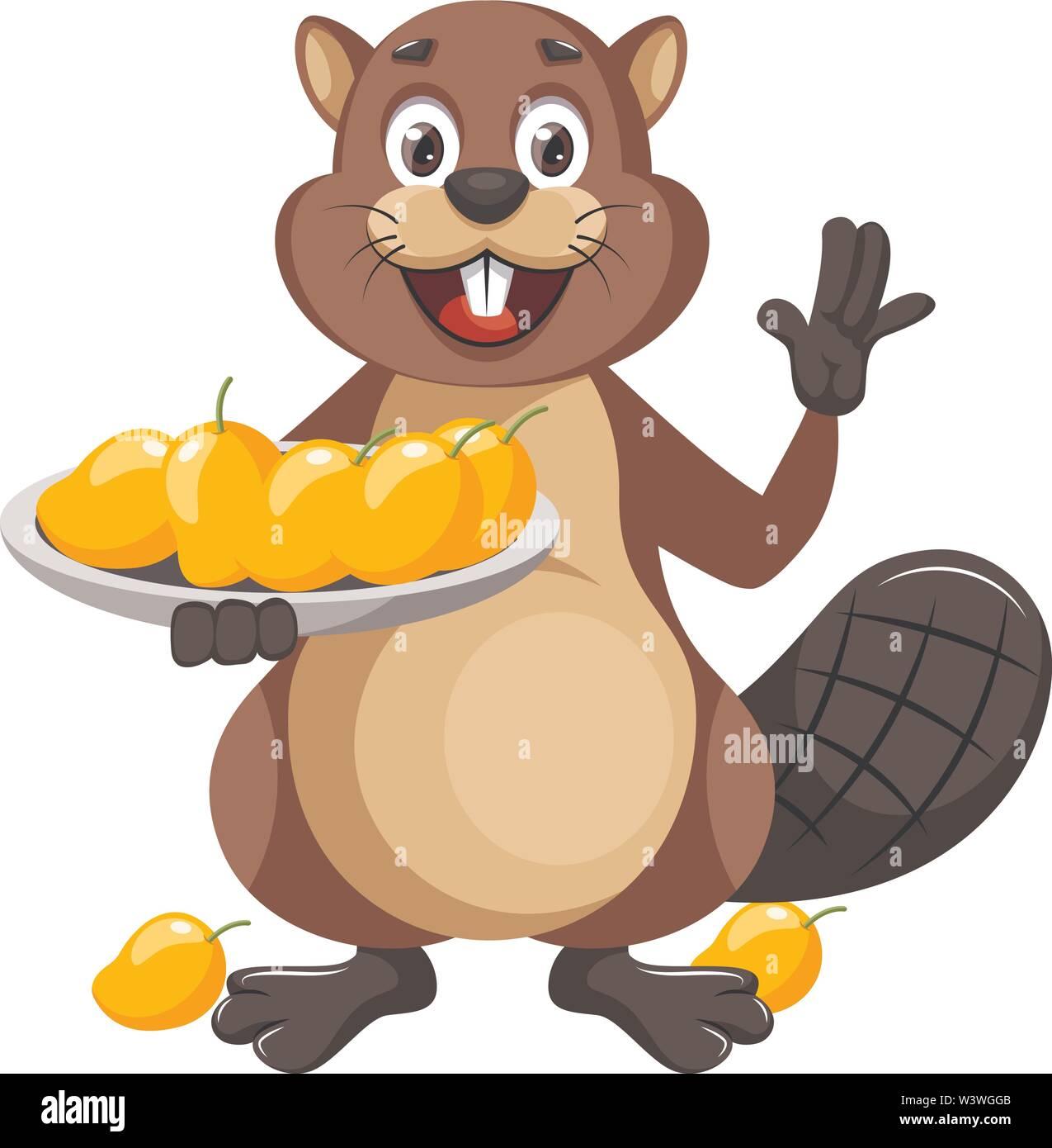 Beaver with mangos, illustration, vector on white background. - Stock Image