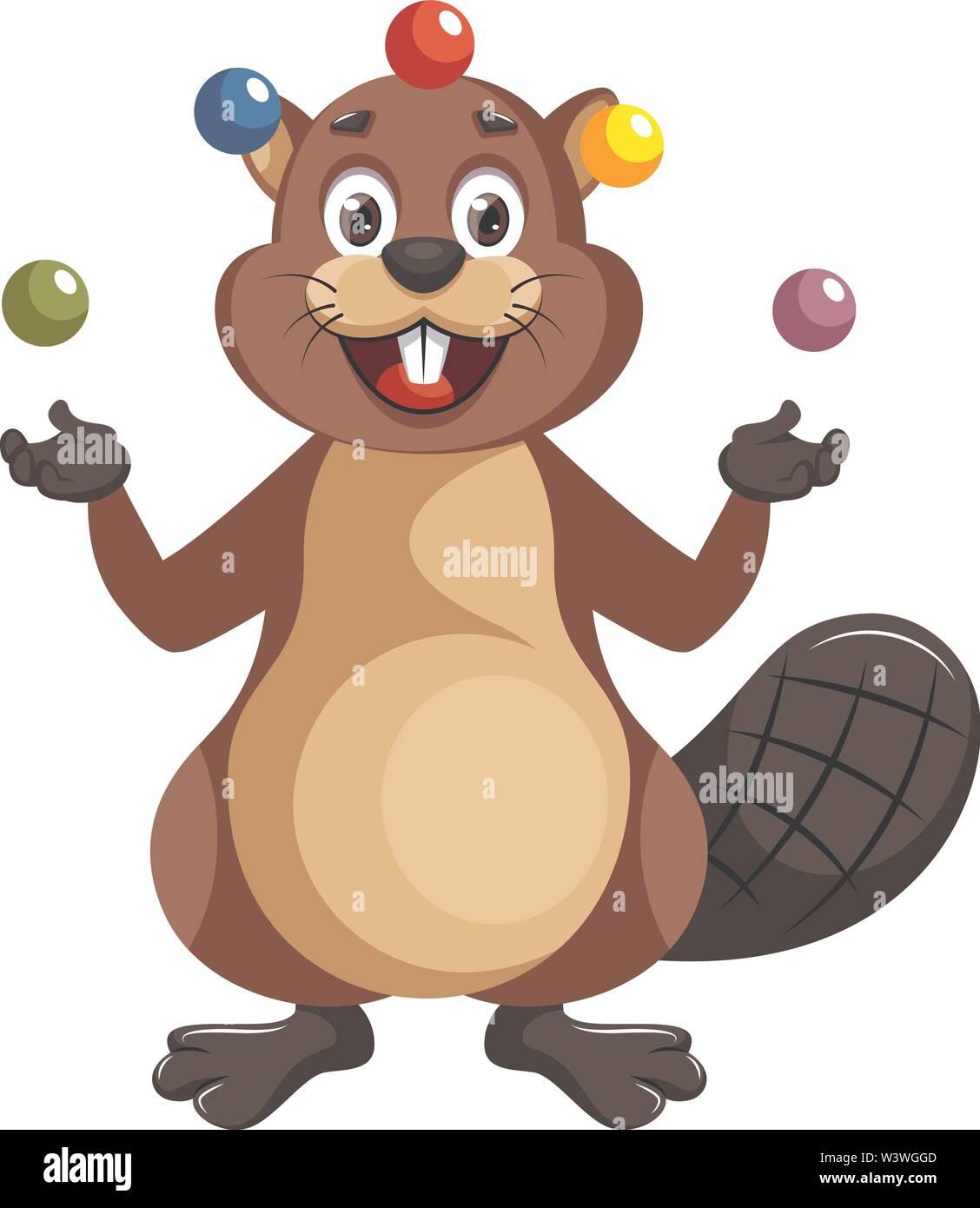 Beaver juggling, illustration, vector on white background. - Stock Image