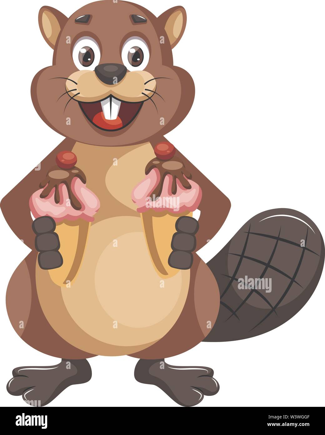 Beaver with cupcakes, illustration, vector on white background. - Stock Image