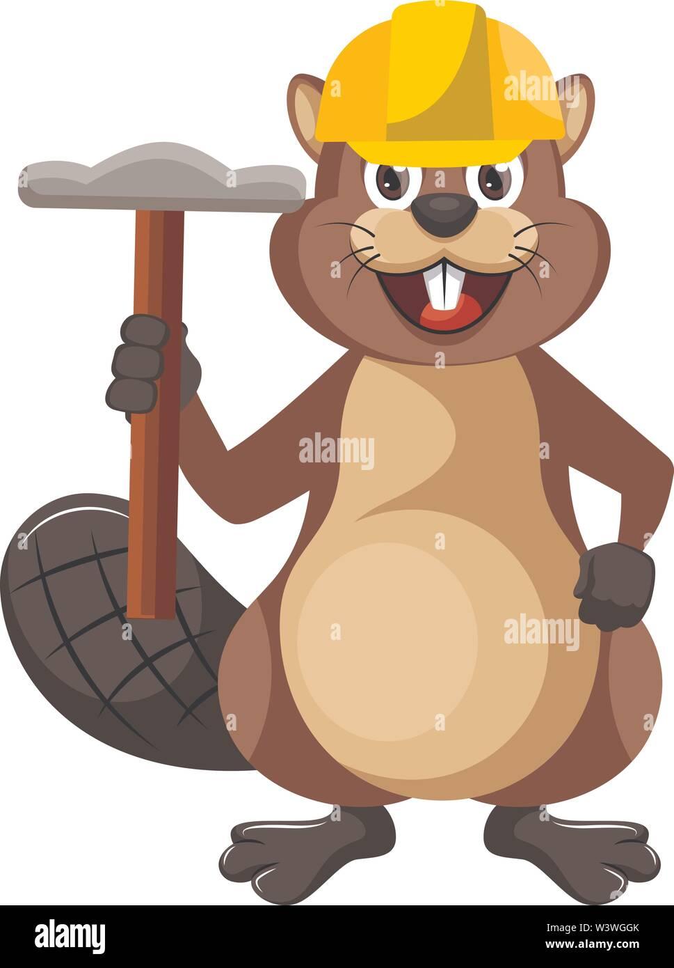 Beaver with hammer, illustration, vector on white background. - Stock Image