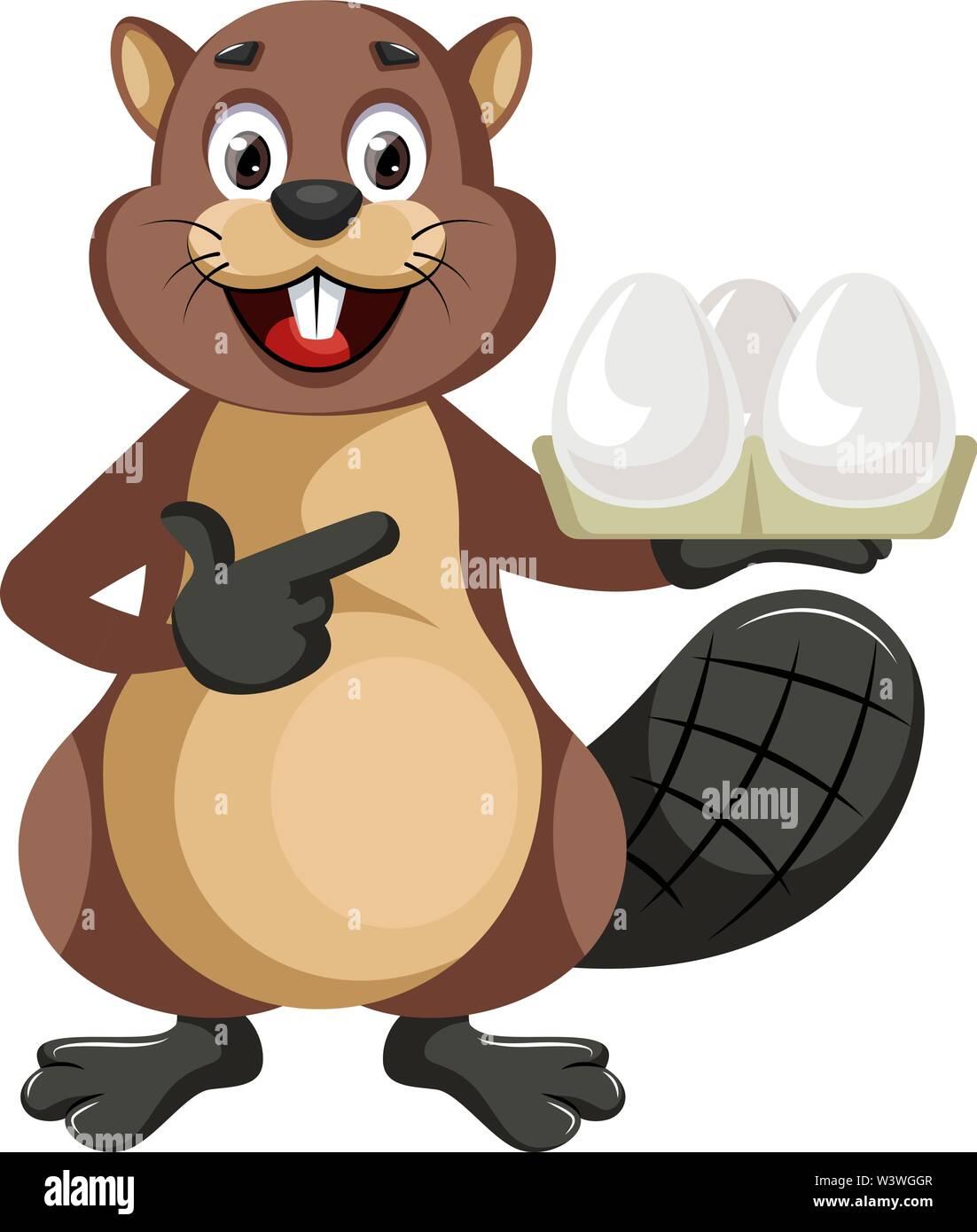 Beaver holding eggs, illustration, vector on white background. - Stock Image