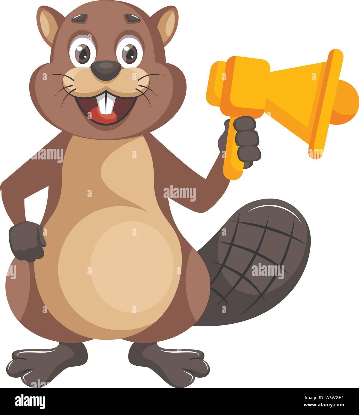 Beaver with megaphone, illustration, vector on white background. - Stock Image