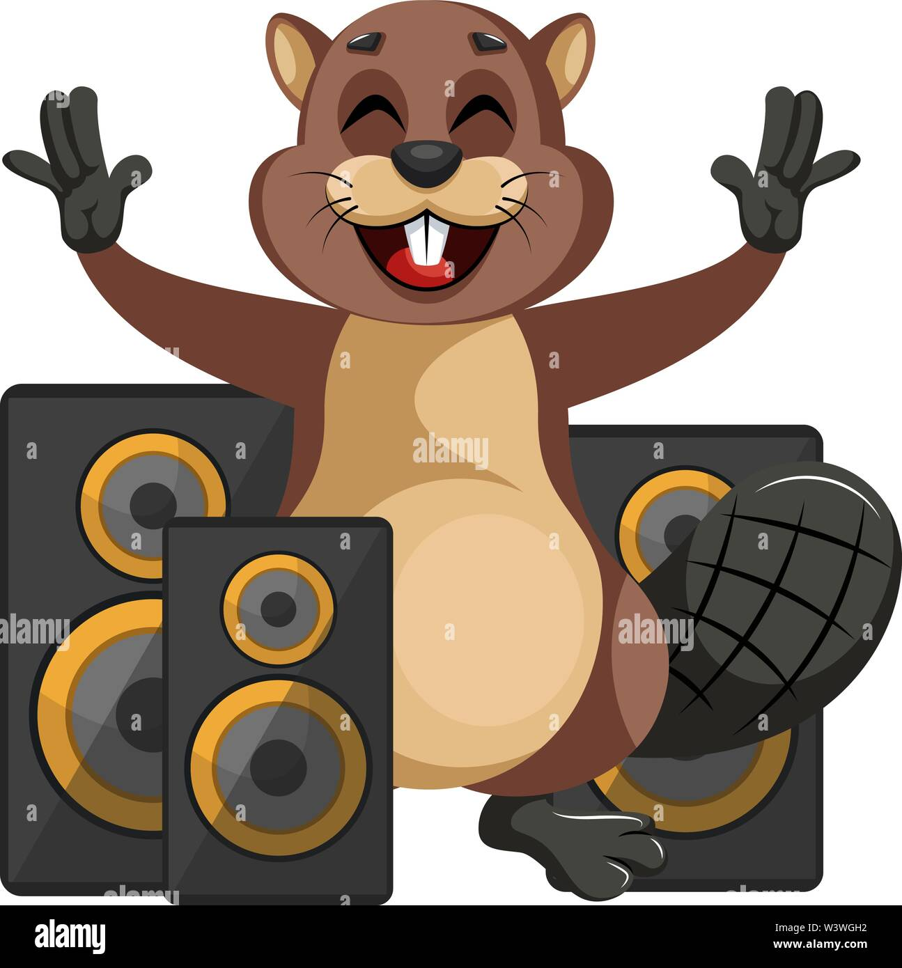 Beaver with speakers, illustration, vector on white background. - Stock Image