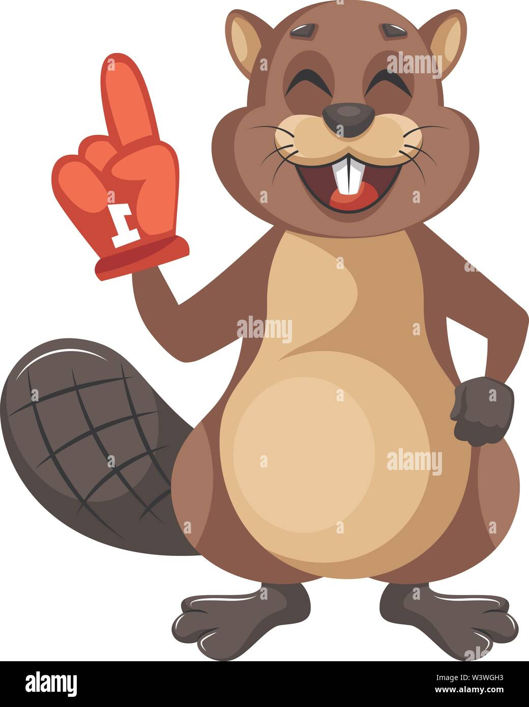 Beaver with big glove, illustration, vector on white background. - Stock Image