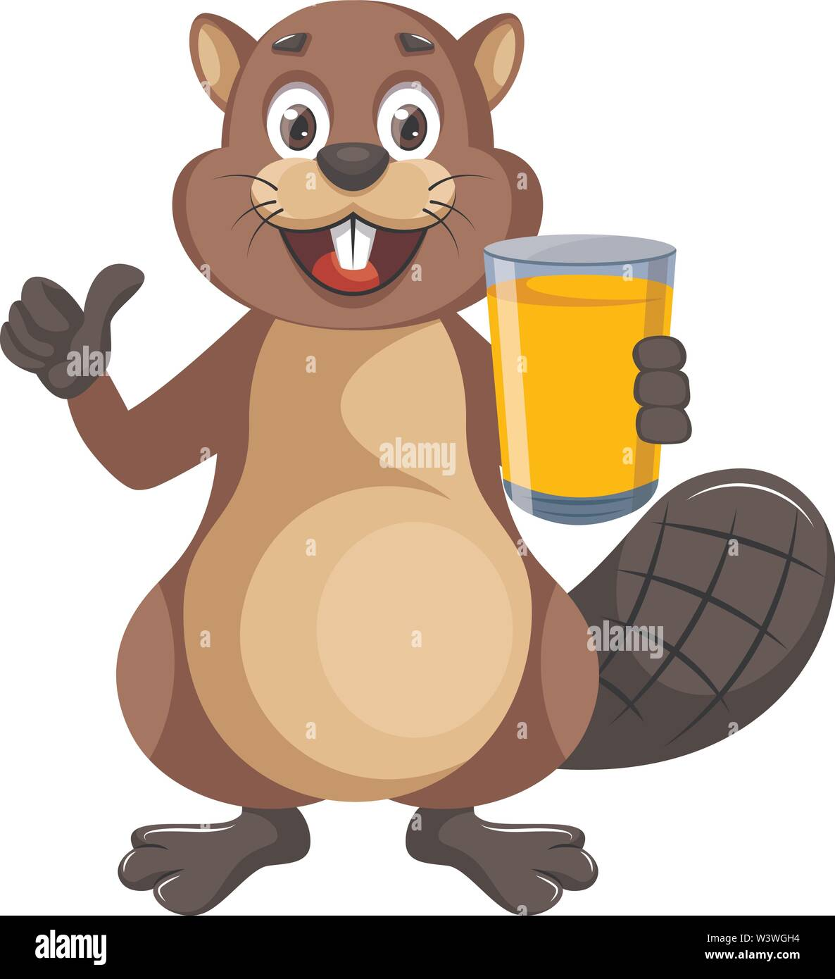 Beaver with juice, illustration, vector on white background. - Stock Image