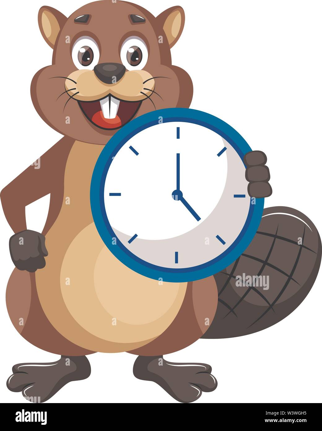 Beaver with clock, illustration, vector on white background. - Stock Image