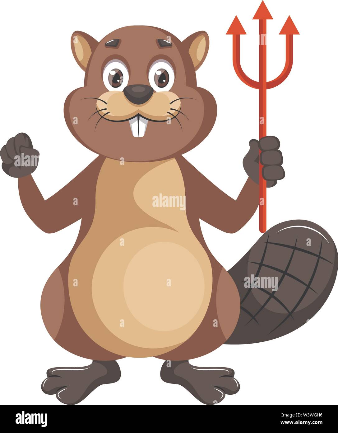 Beaver with devil spear, illustration, vector on white background. - Stock Image