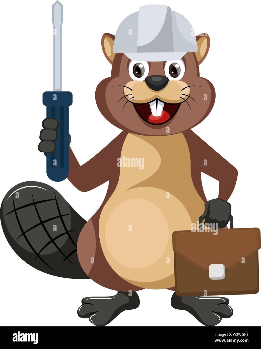 Beaver worker, illustration, vector on white background. - Stock Image