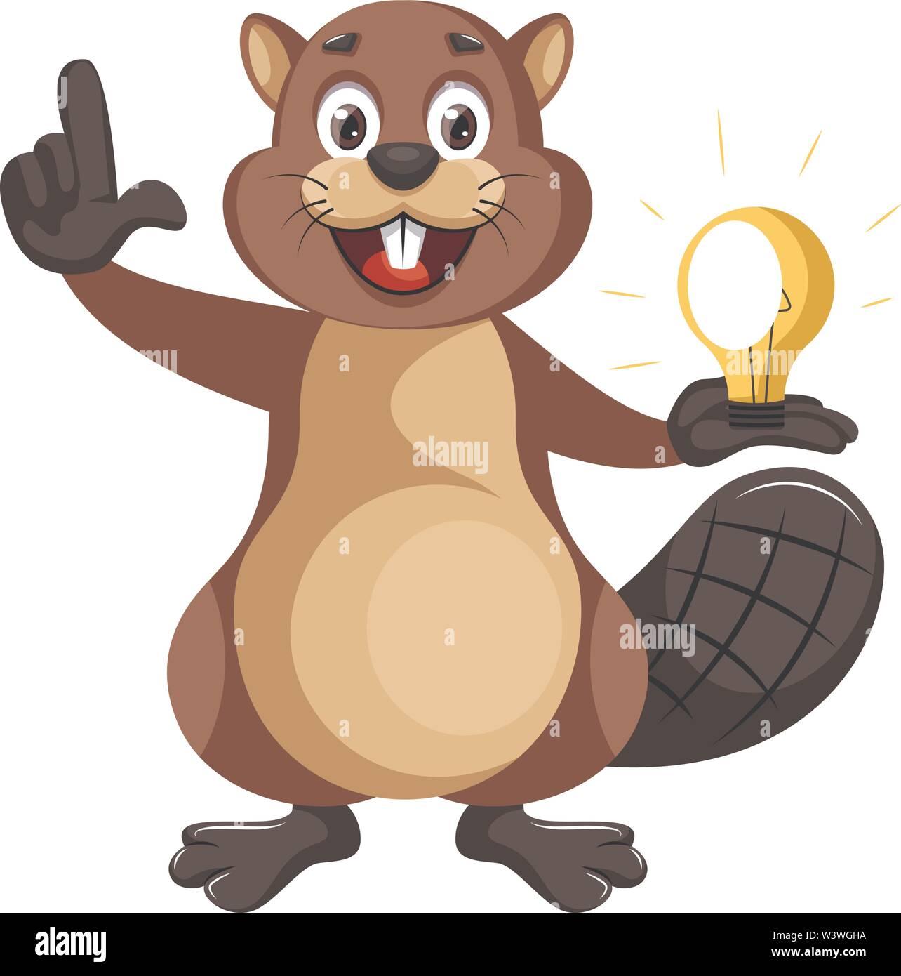 Beaver with lighting bulb, illustration, vector on white background. - Stock Image