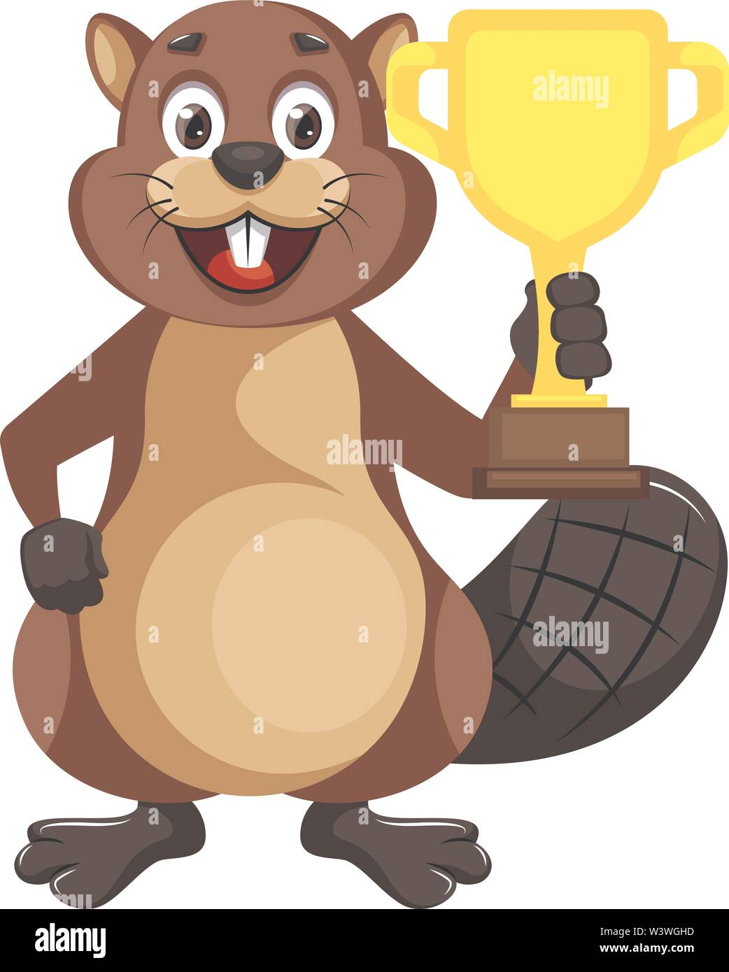 Beaver with trophy, illustration, vector on white background. - Stock Image