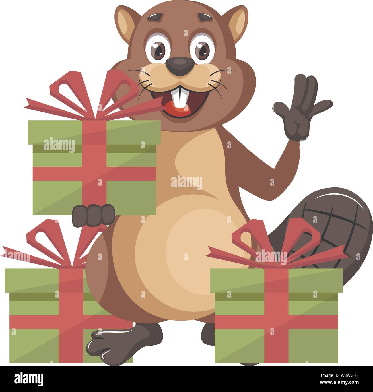 Beaver with presents, illustration, vector on white background. - Stock Image