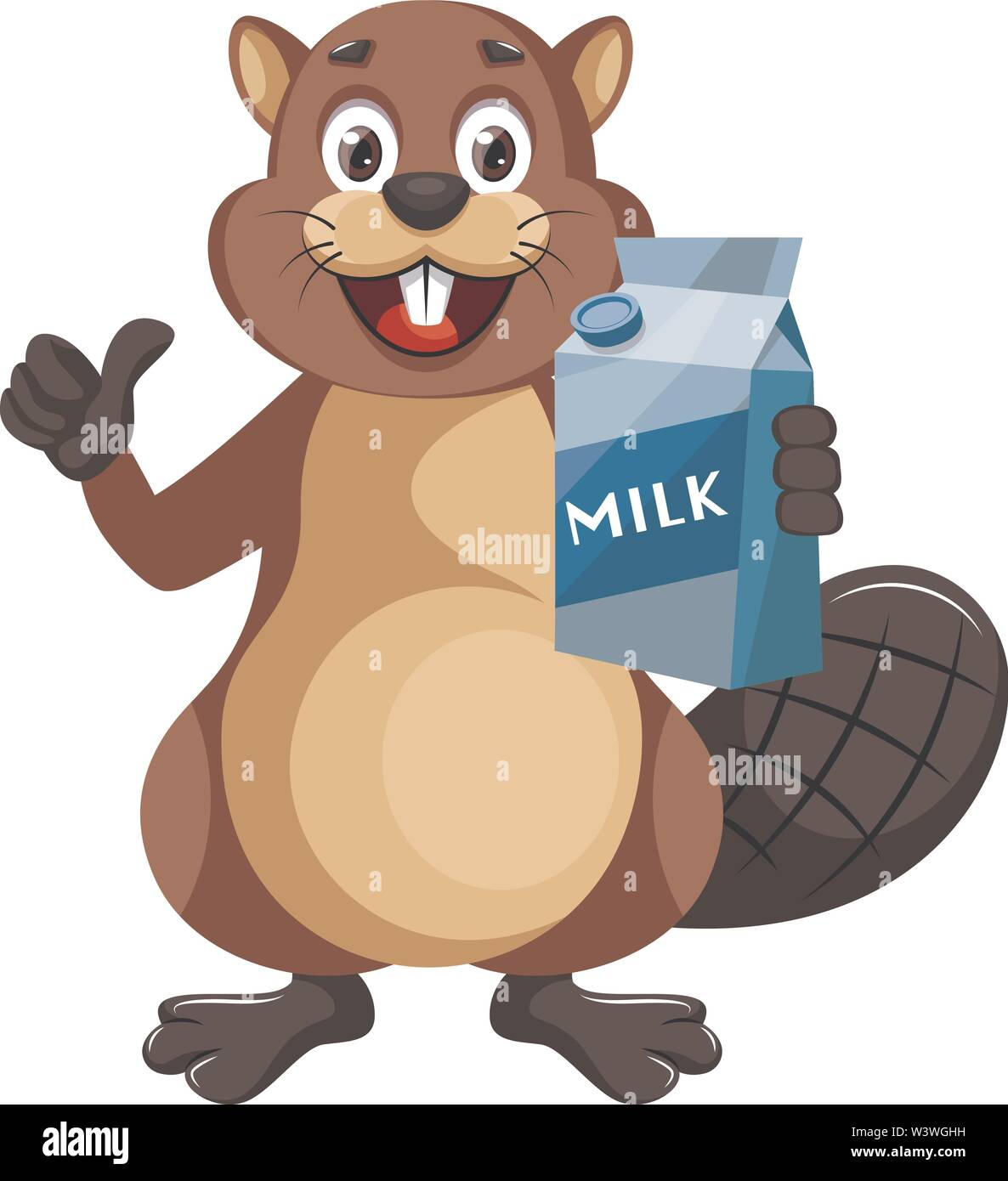 Beaver with milk, illustration, vector on white background. - Stock Image