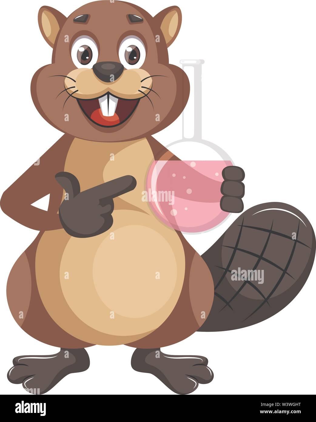 Beaver holding tube, illustration, vector on white background. - Stock Image