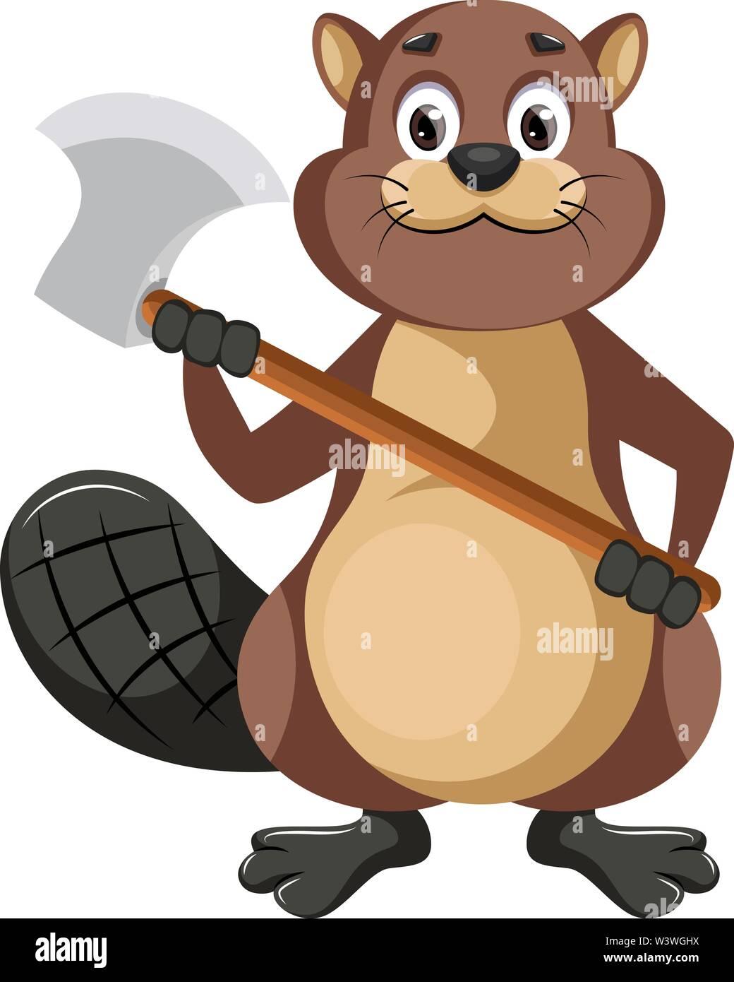 Beaver holding axe, illustration, vector on white background. - Stock Image