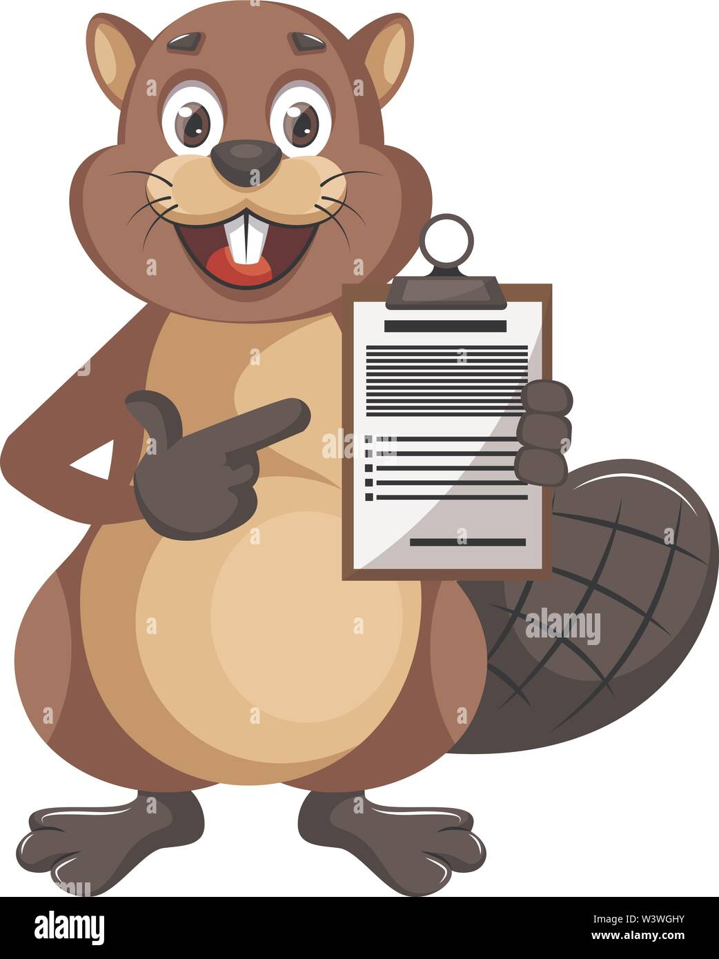 Beaver holding construction notepad, illustration, vector on white background. - Stock Image