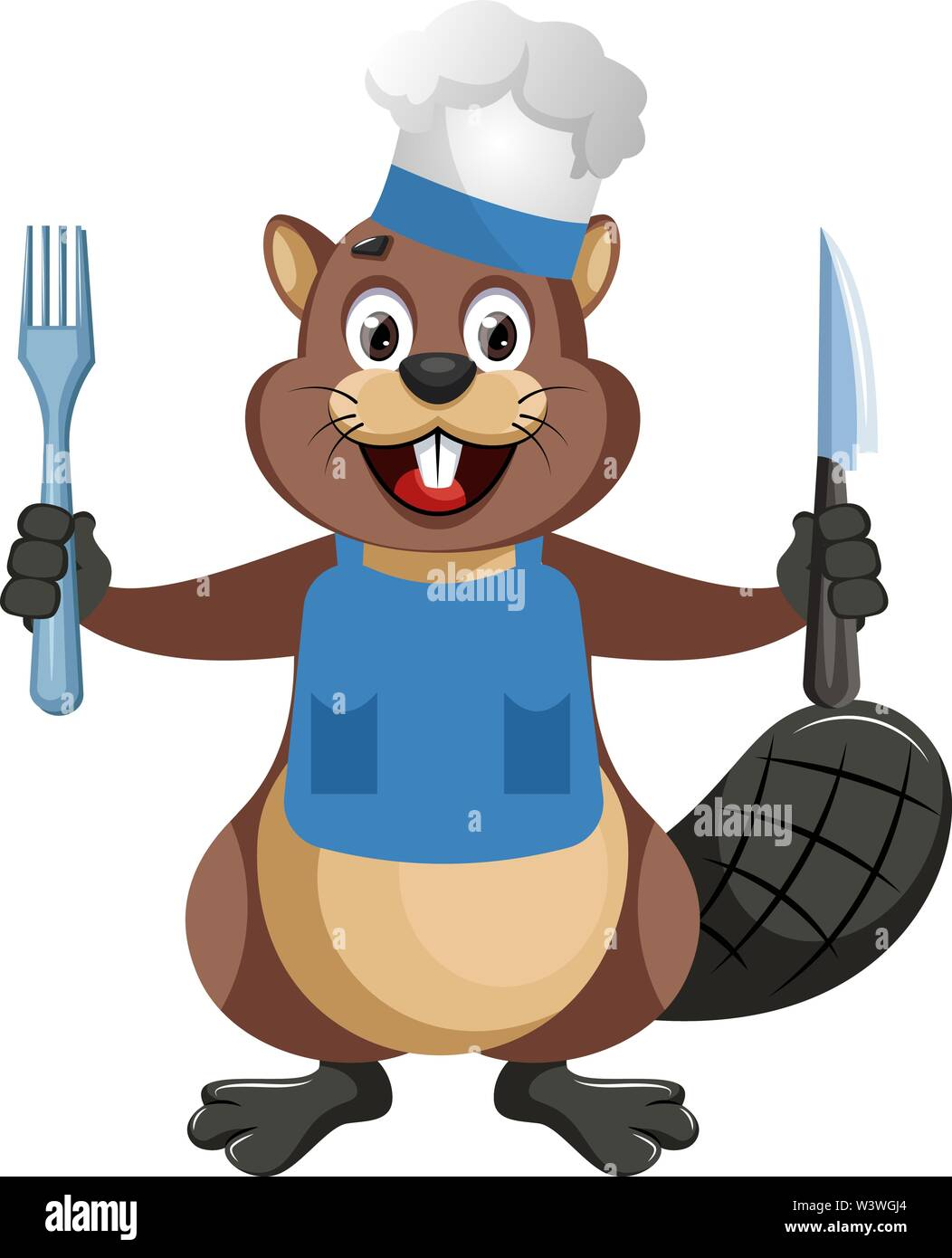 Beaver with fork and knife, illustration, vector on white background. - Stock Image
