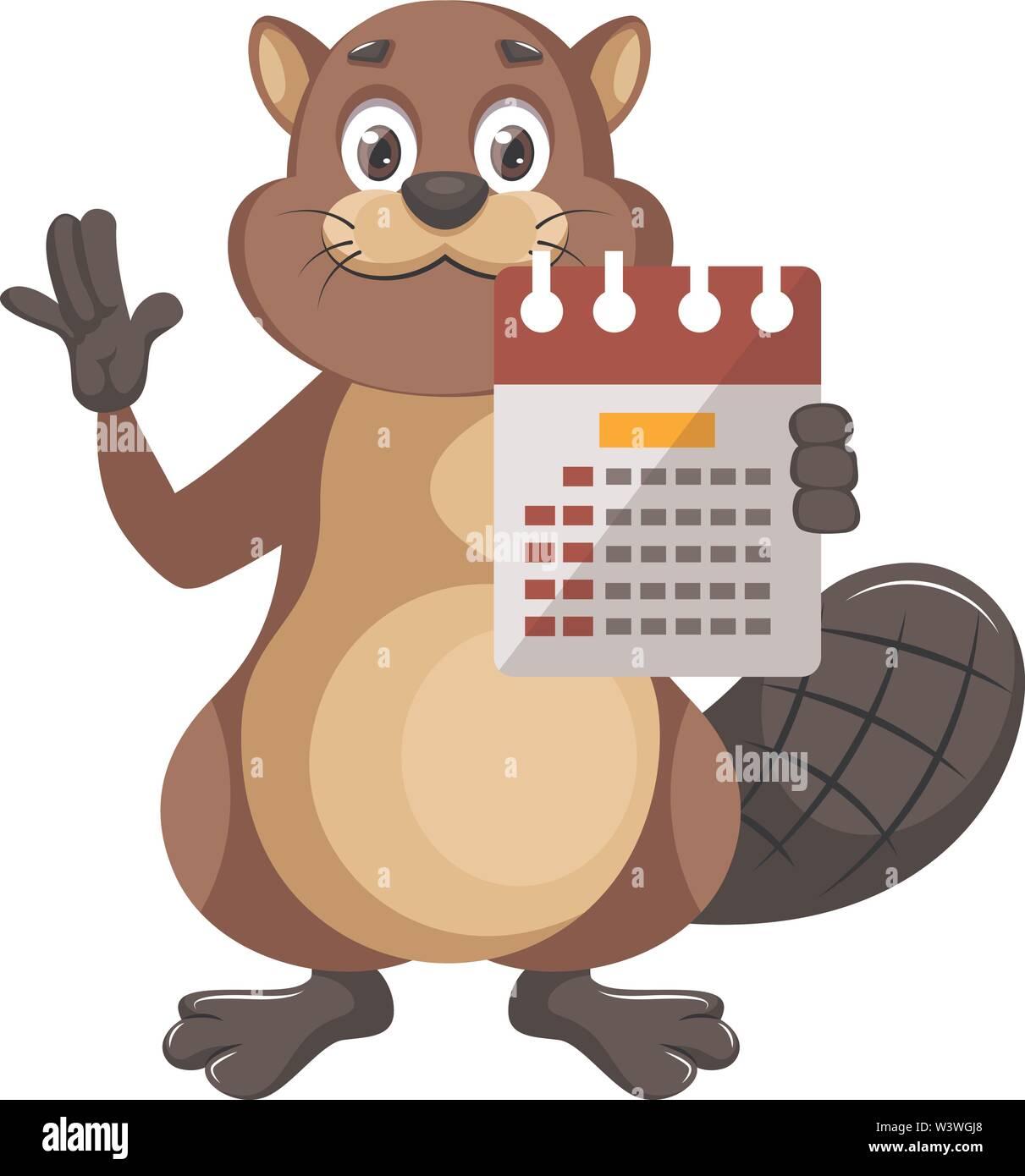 Beaver with calendar, illustration, vector on white background. - Stock Image