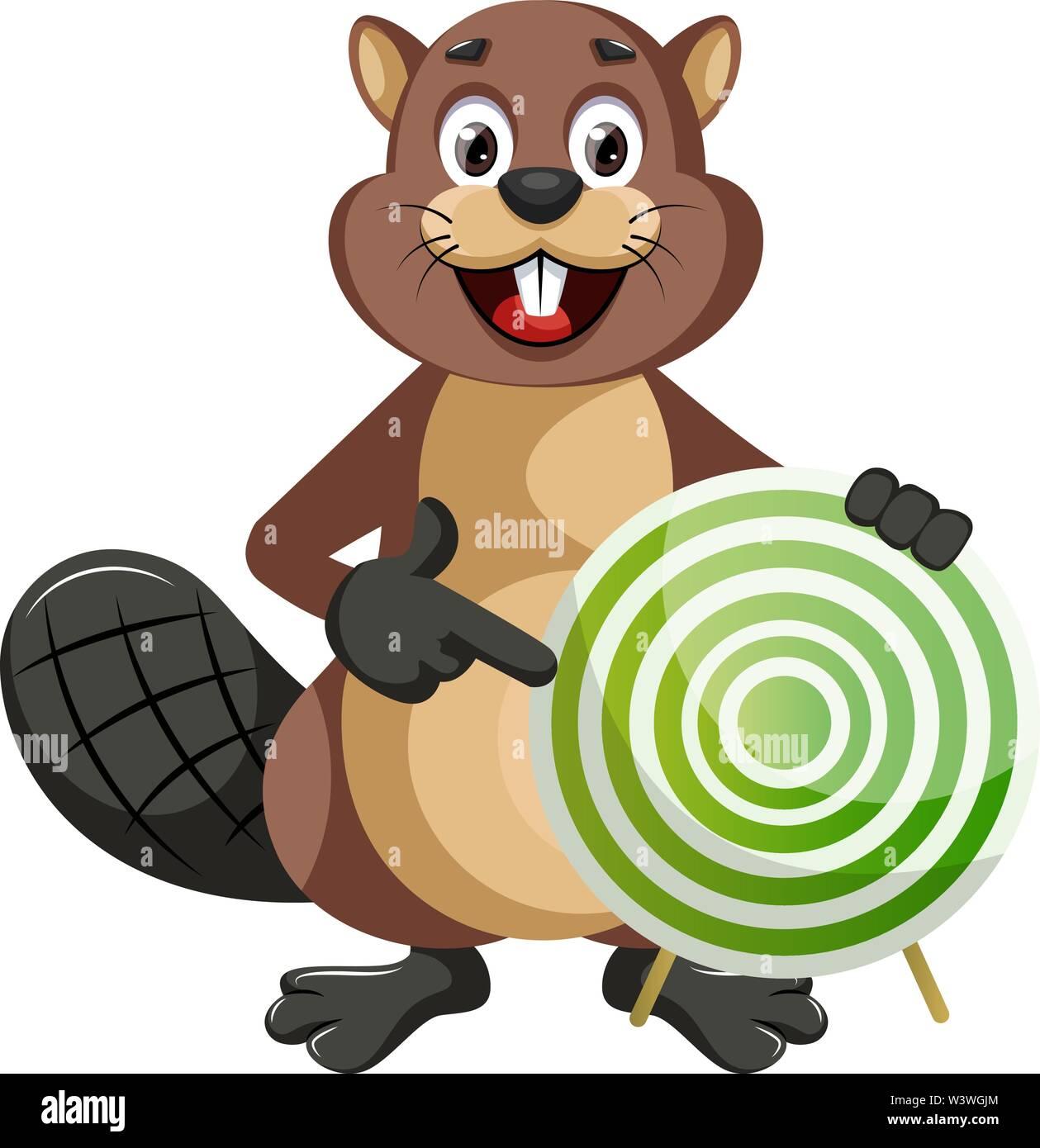 Beaver holding target, illustration, vector on white background. - Stock Image