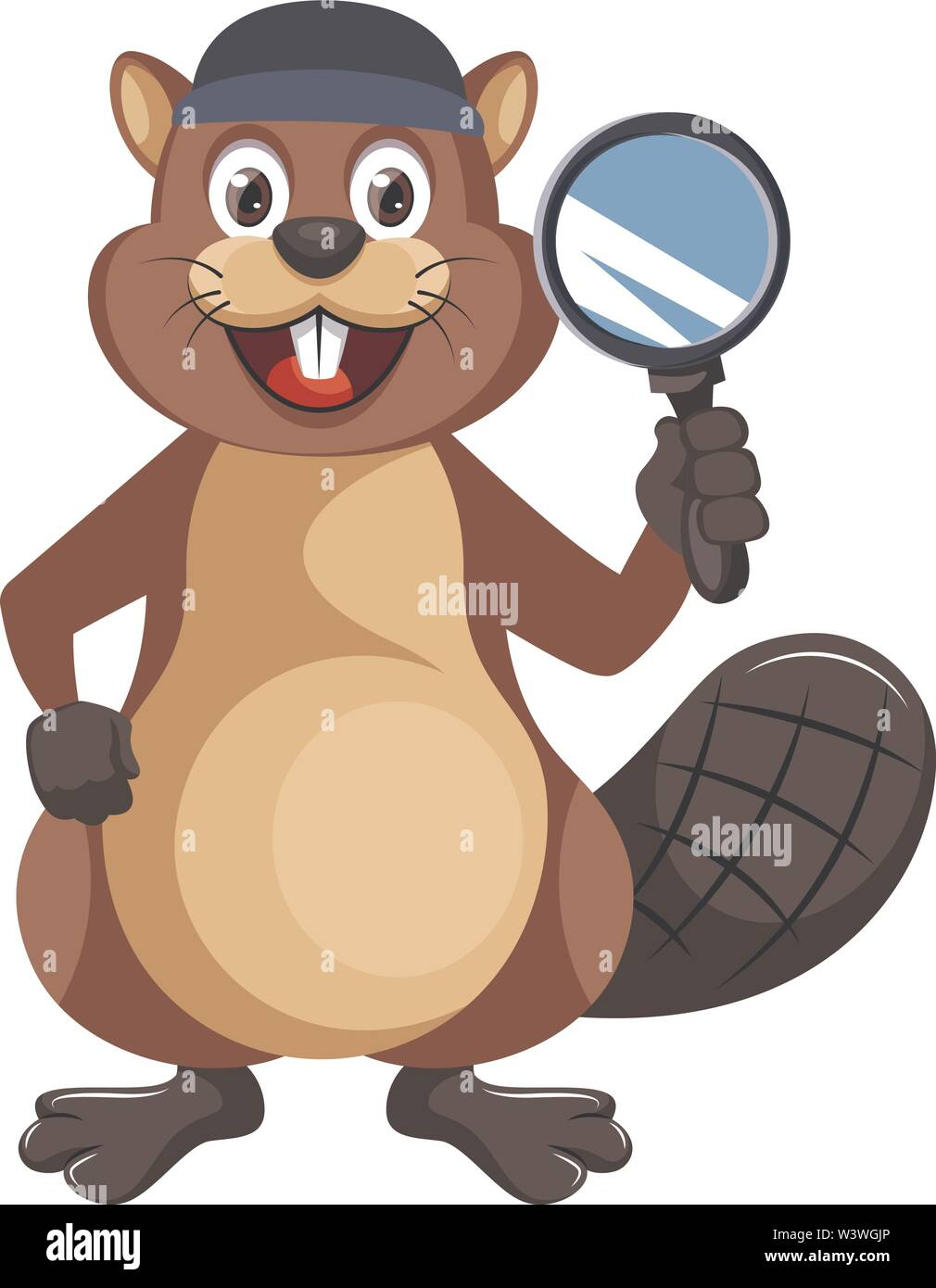 Beaver with magnifying glass, illustration, vector on white background. - Stock Image
