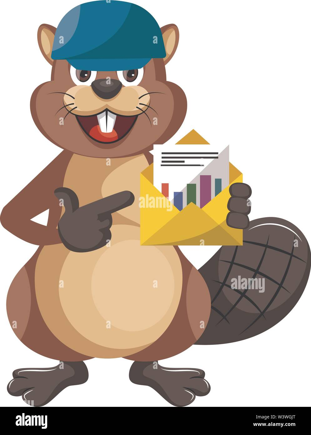 Beaver with blue hat, illustration, vector on white background. - Stock Image