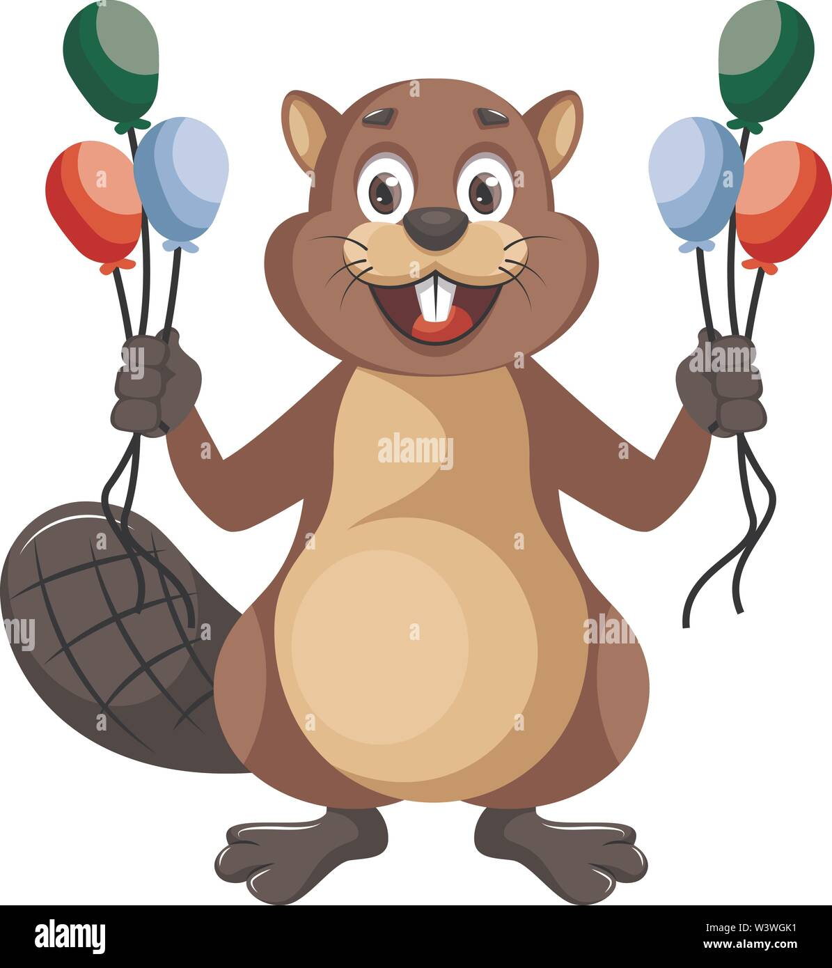 Beaver with balloons, illustration, vector on white background. - Stock Image