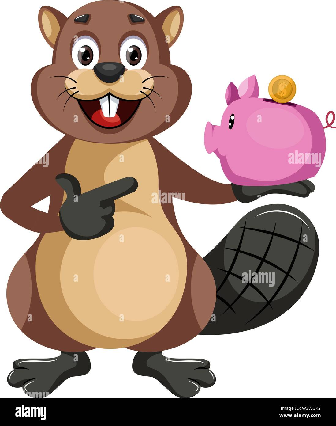 Beaver with piggy bank, illustration, vector on white background. - Stock Image