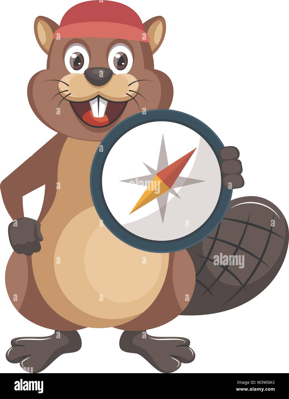 Beaver with compas, illustration, vector on white background. - Stock Image