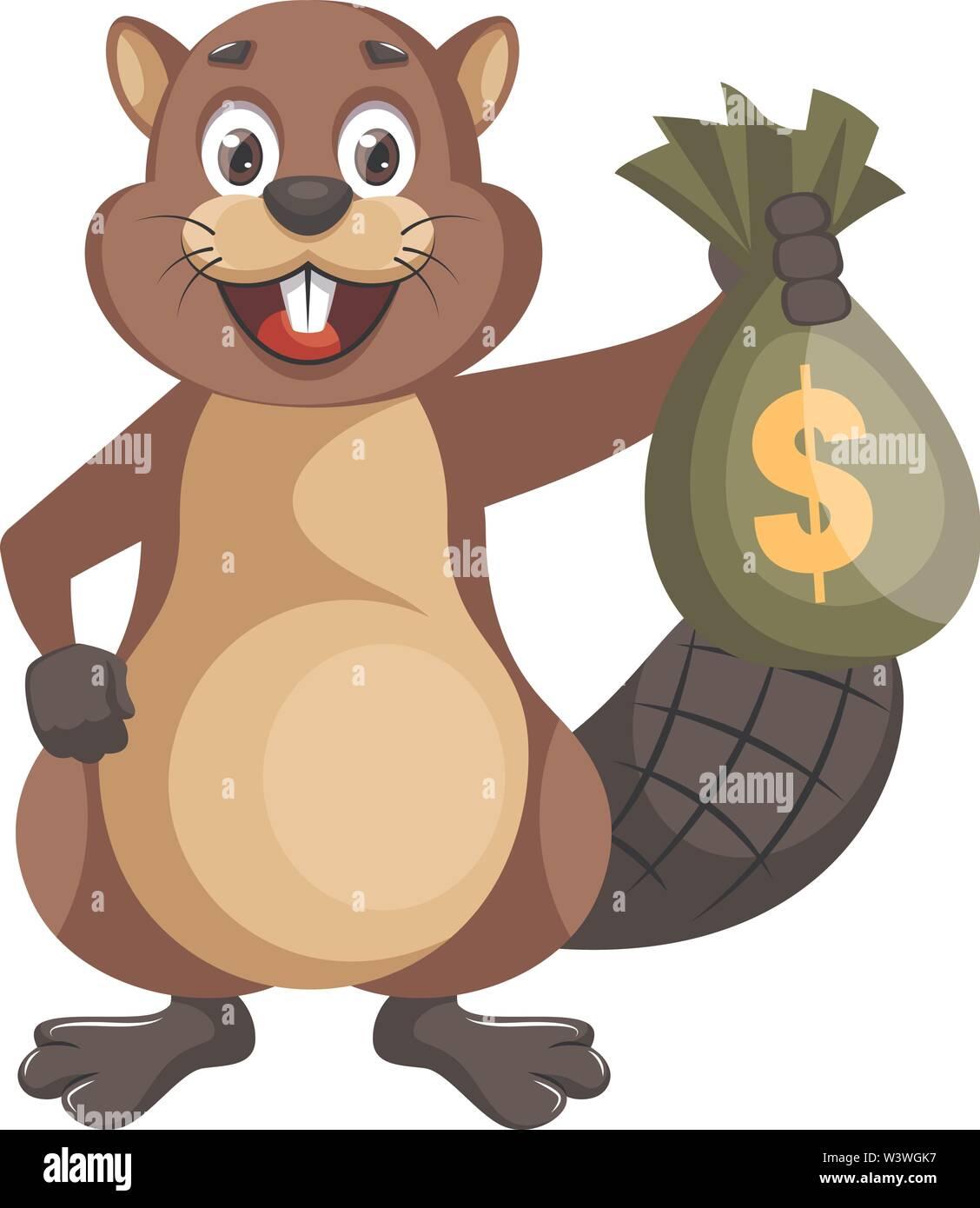 Beaver holding bag of money, illustration, vector on white background. - Stock Image