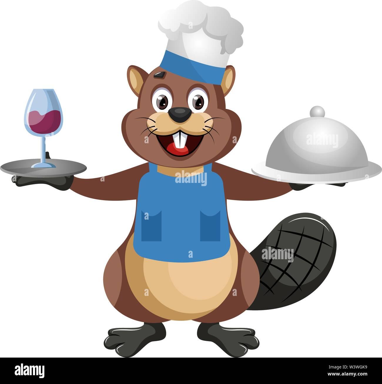 Beaver chef, illustration, vector on white background. - Stock Image