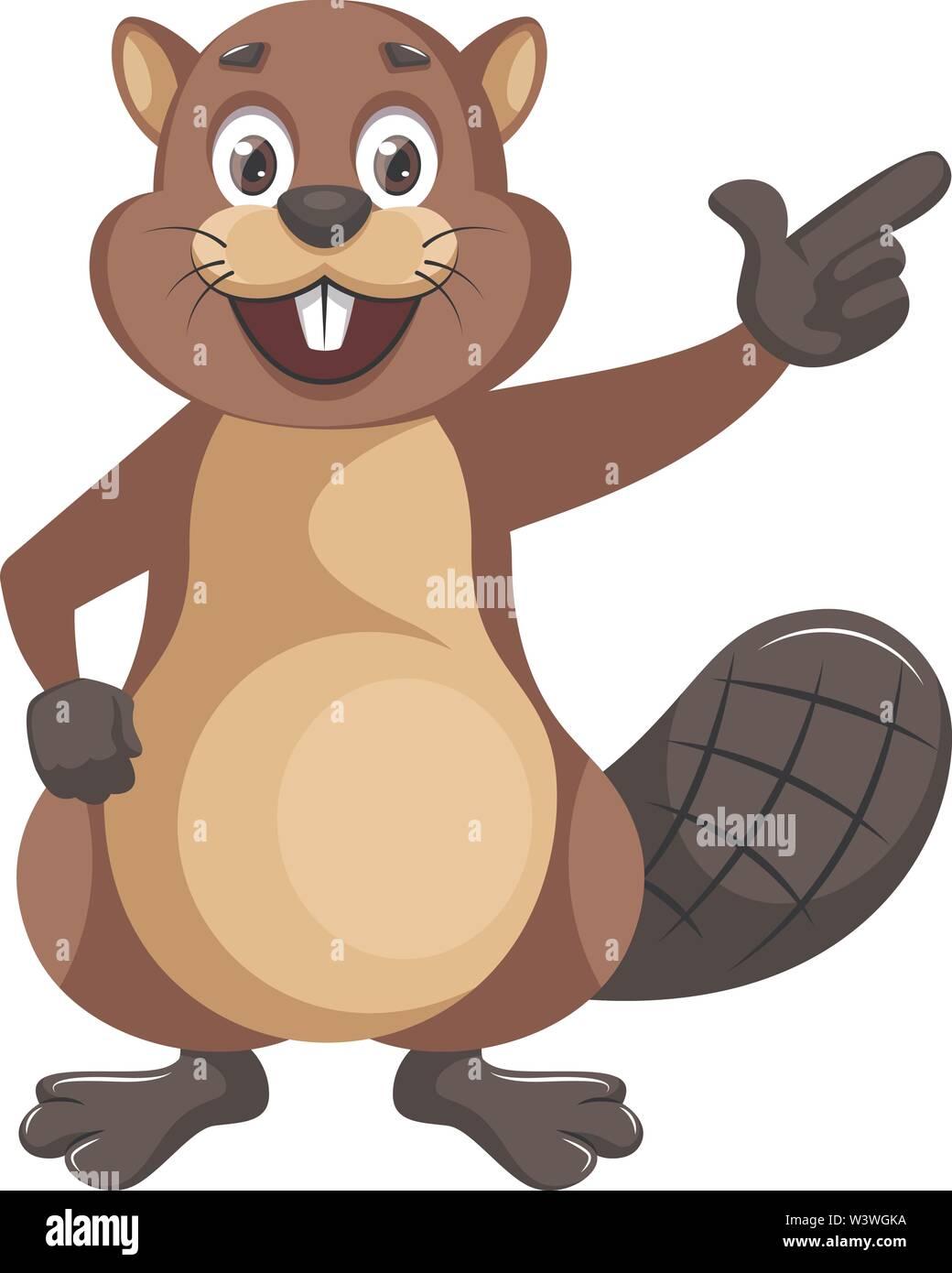 Beaver showing something, illustration, vector on white background. - Stock Image