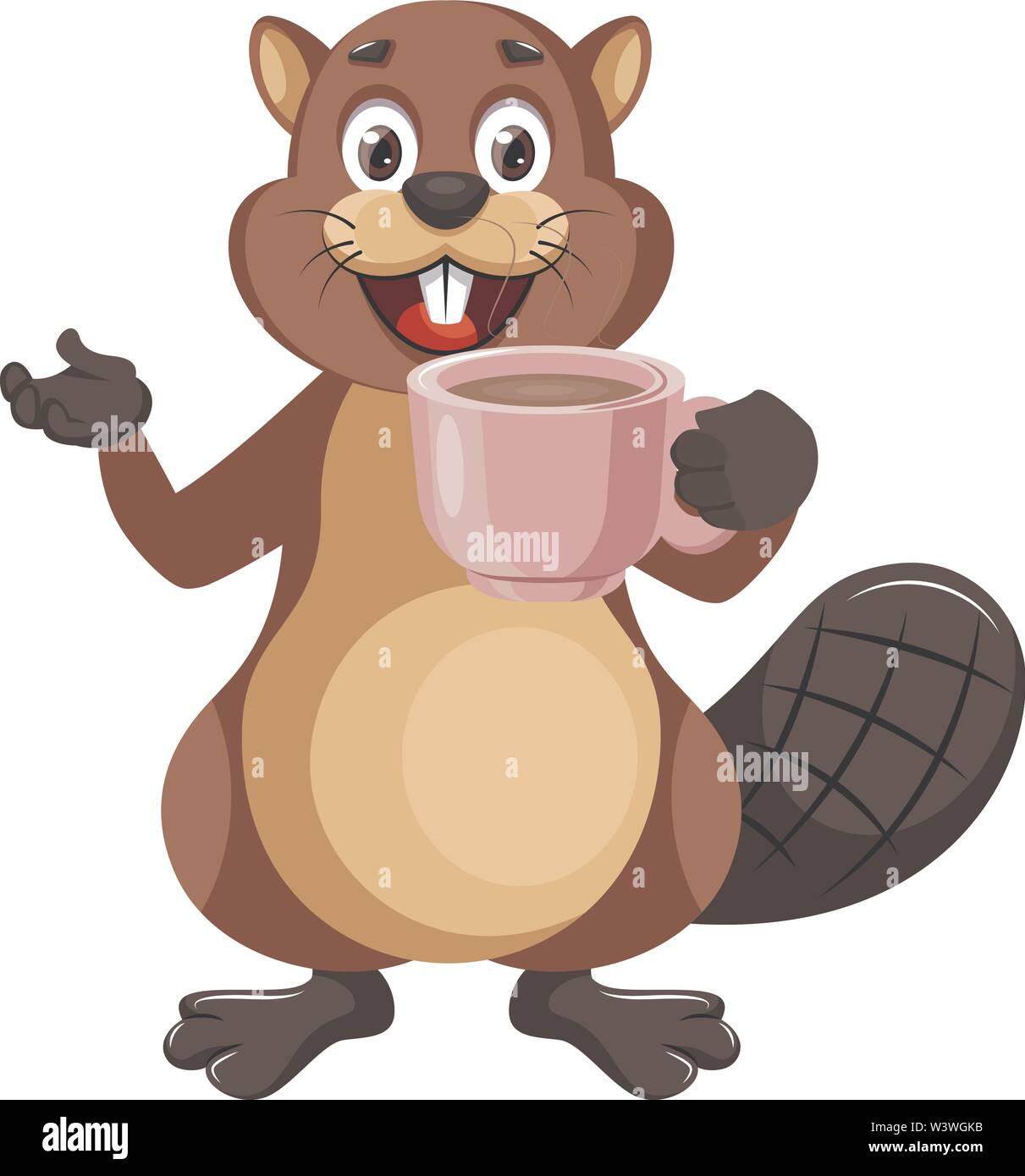 Beaver with cup of coffee, illustration, vector on white background. - Stock Image