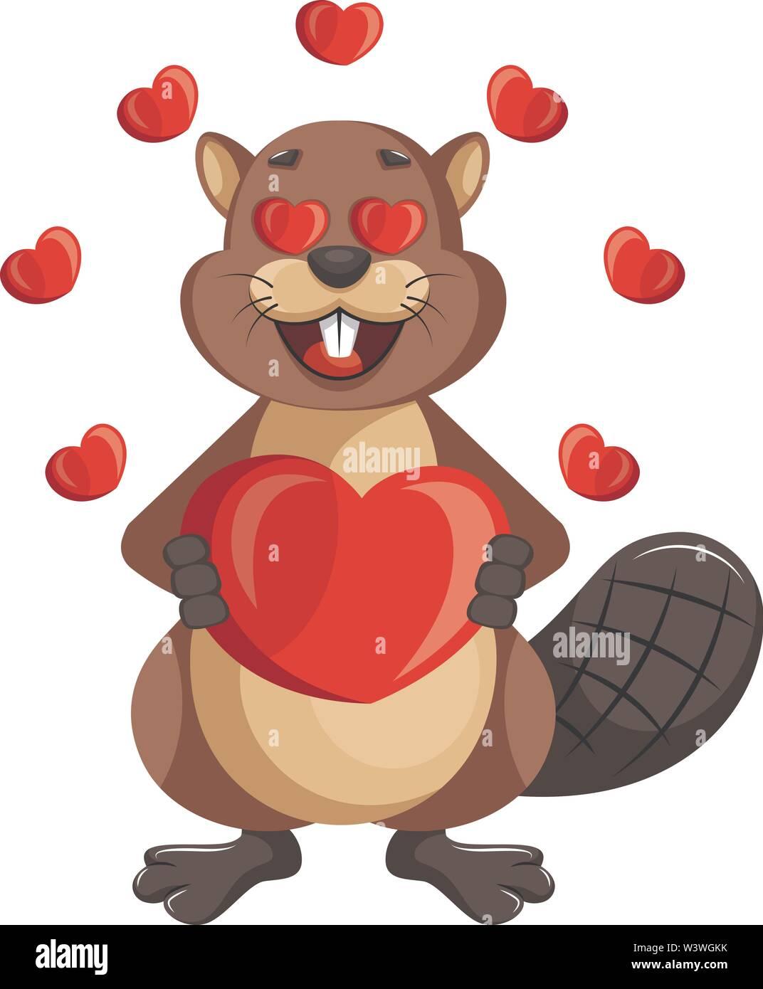 Beaver in love, illustration, vector on white background. - Stock Image