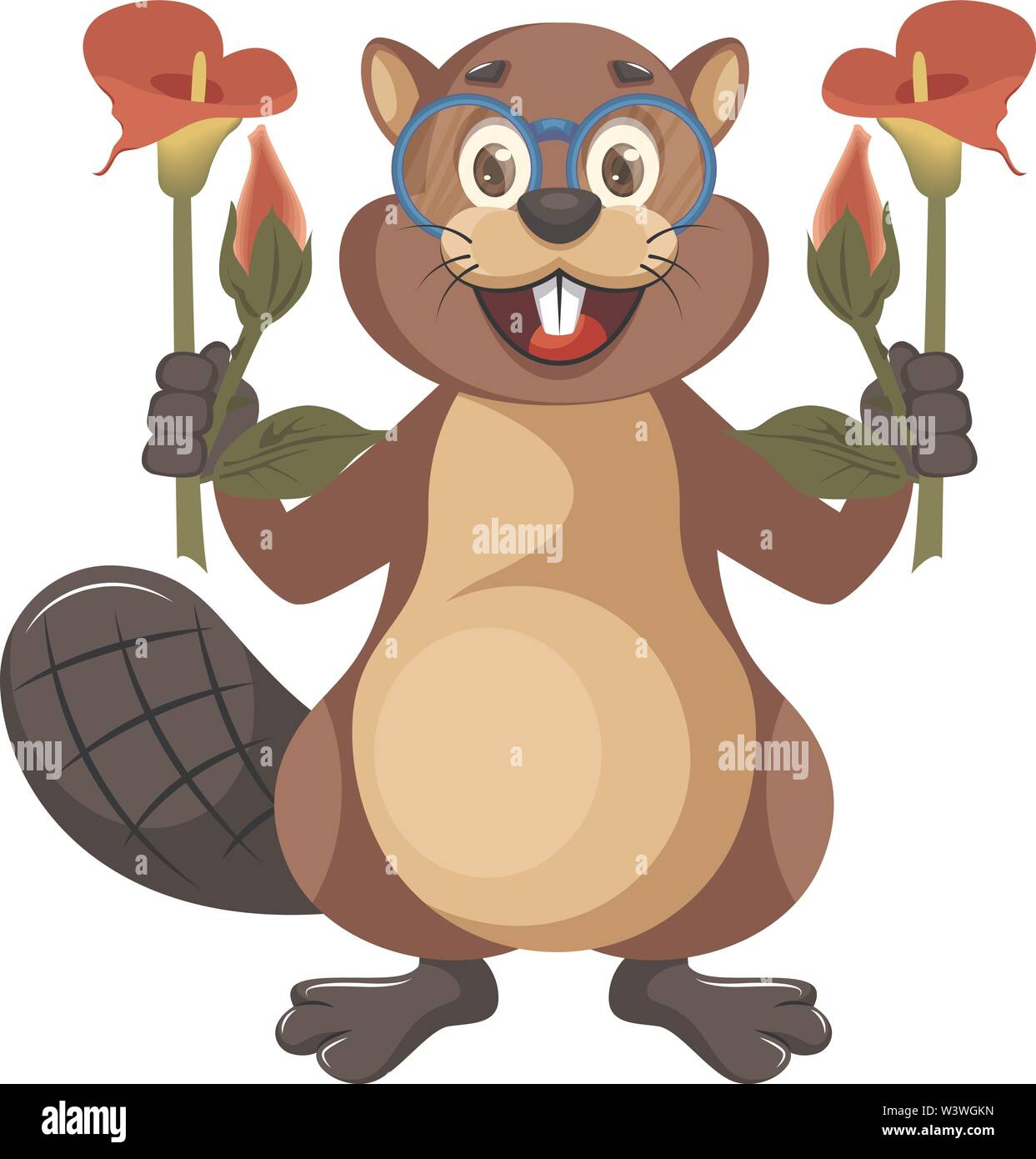 Beaver with flowers, illustration, vector on white background. - Stock Image