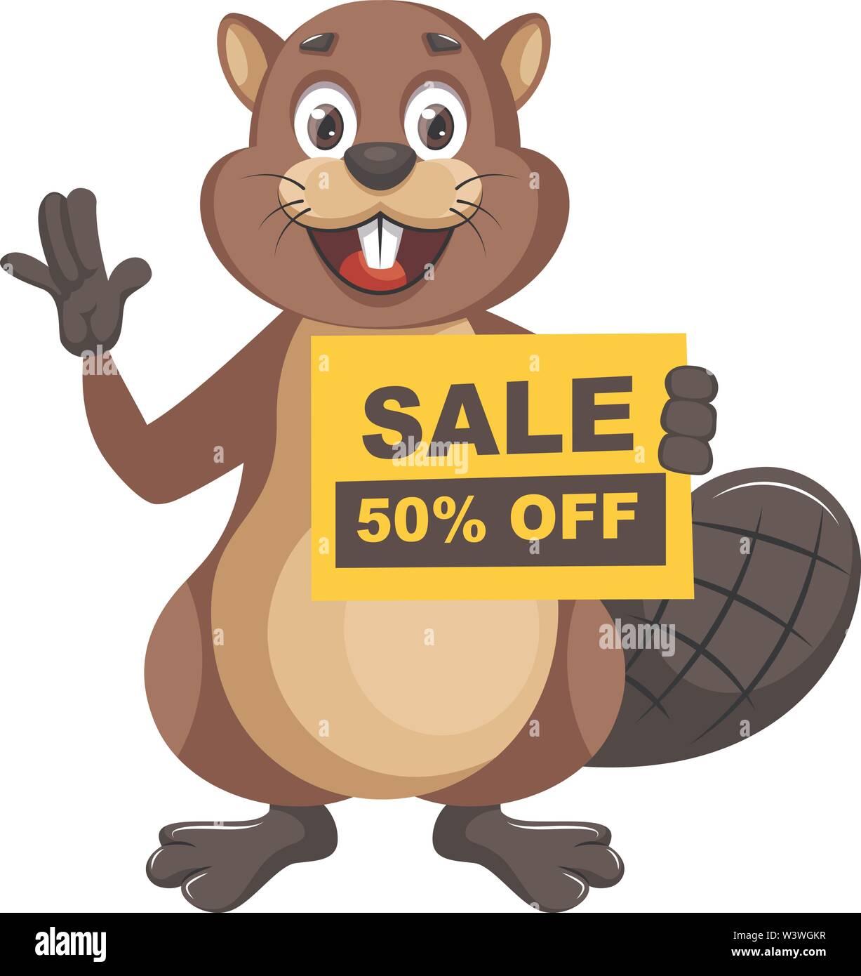Beaver holding sale sign, illustration, vector on white background. - Stock Image