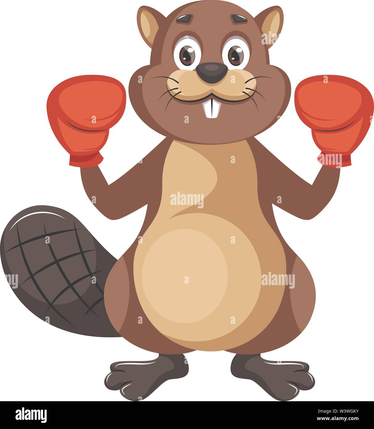 Beaver with boxing gloves, illustration, vector on white background. - Stock Image