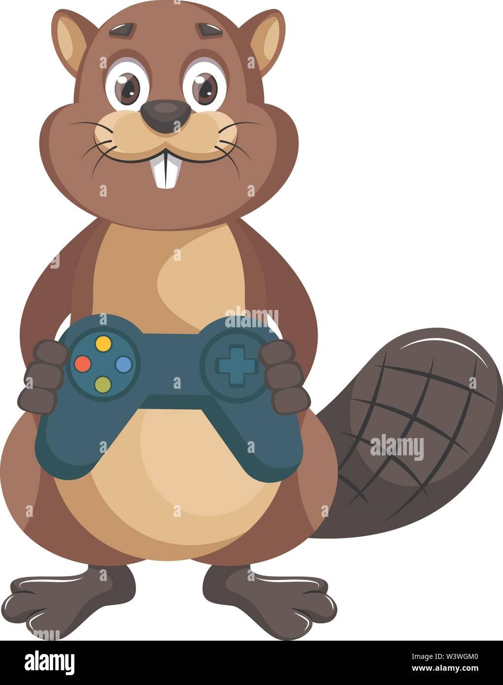 Beaver with gamepad, illustration, vector on white background. - Stock Image