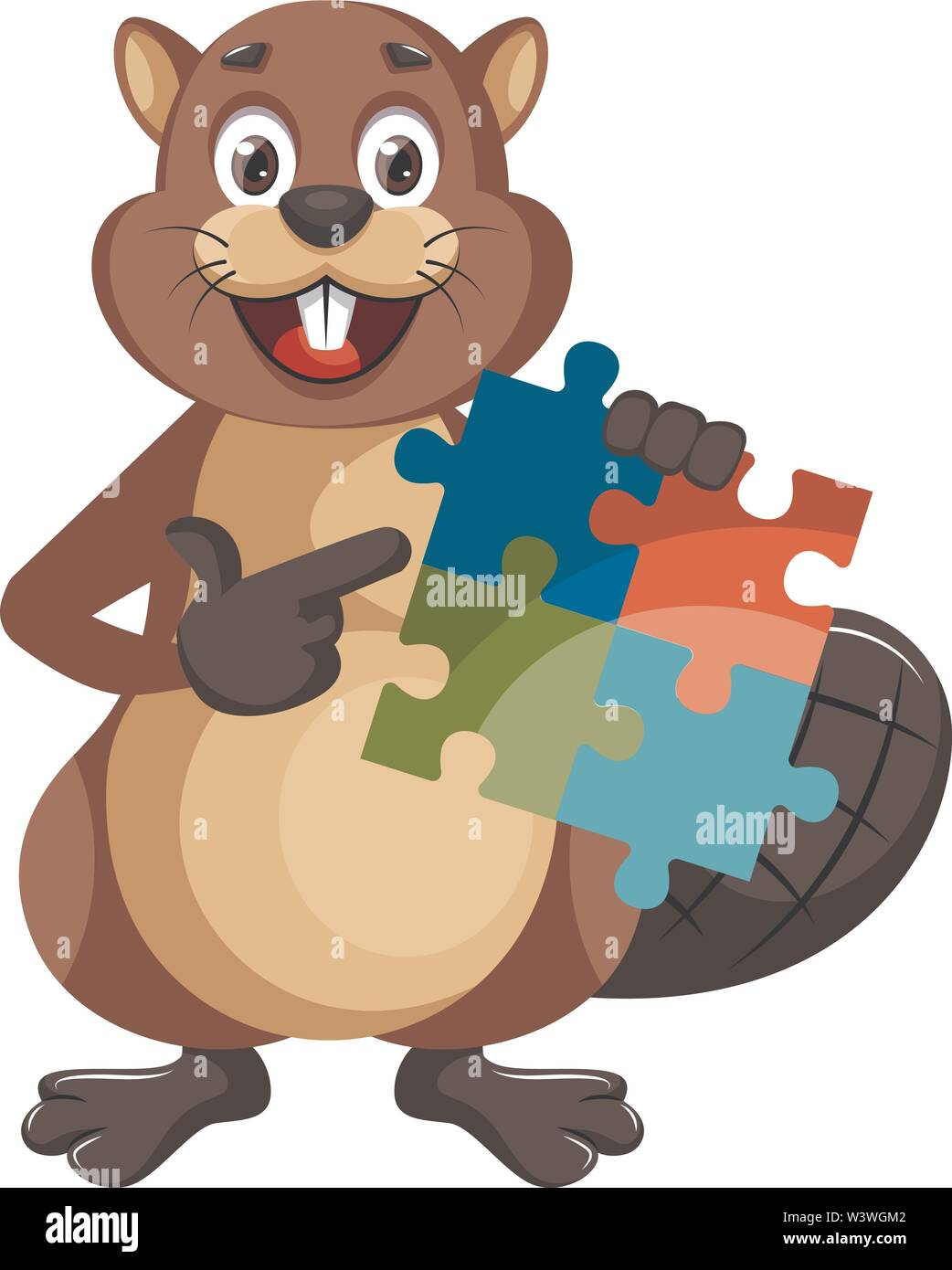 Beaver with puzzle, illustration, vector on white background. - Stock Image