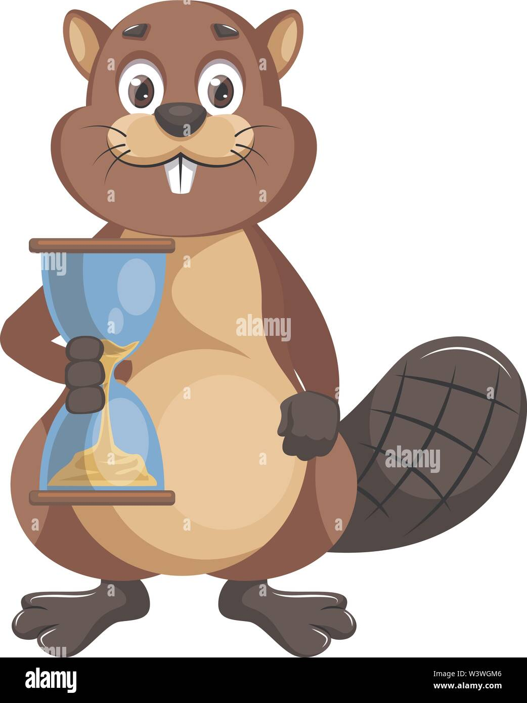 Beaver with sand watch, illustration, vector on white background. - Stock Image